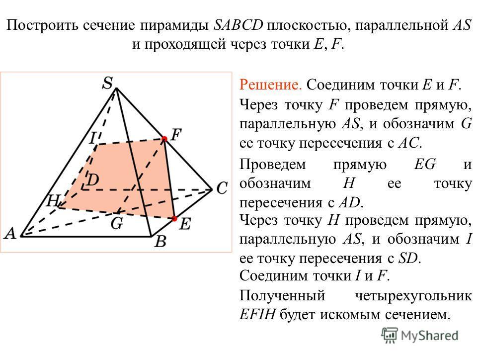 Построить сечение пирамиды SABCD плоскостью, параллельной AS и проходящей через точки E, F. Решение. Соединим точки E и F. Через точку F проведем прямую, параллельную AS, и обозначим G ее точку пересечения с AC. Проведем прямую EG и обозначим H ее то