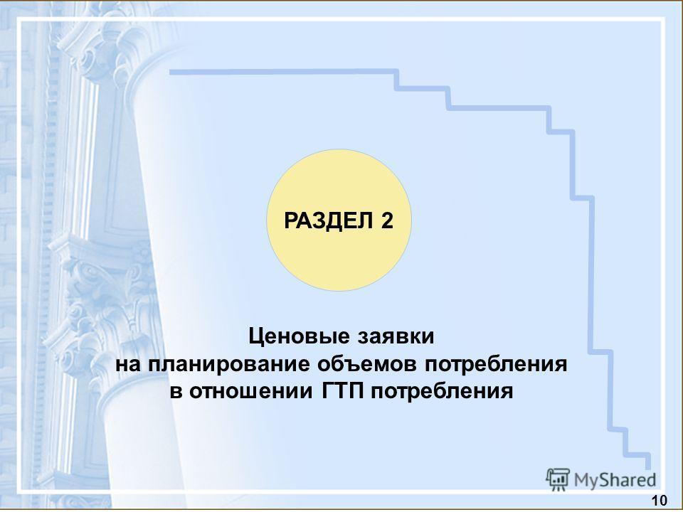 10 Ценовые заявки на планирование объемов потребления в отношении ГТП потребления РАЗДЕЛ 2
