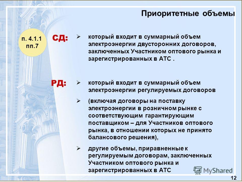 12 Приоритетные объемы который входит в суммарный объем электроэнергии двусторонних договоров, заключенных Участником оптового рынка и зарегистрированных в АТС. который входит в суммарный объем электроэнергии регулируемых договоров (включая договоры