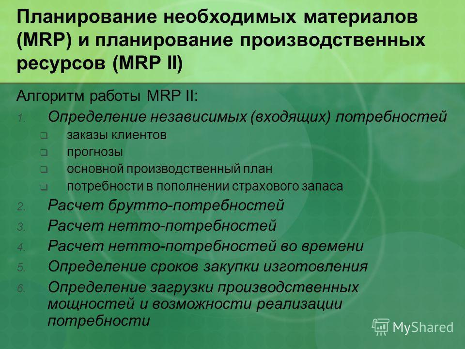 Планирование необходимых материалов (MRP) и планирование производственных ресурсов (MRP II) Алгоритм работы MRP II: 1. Определение независимых (входящих) потребностей заказы клиентов прогнозы основной производственный план потребности в пополнении ст