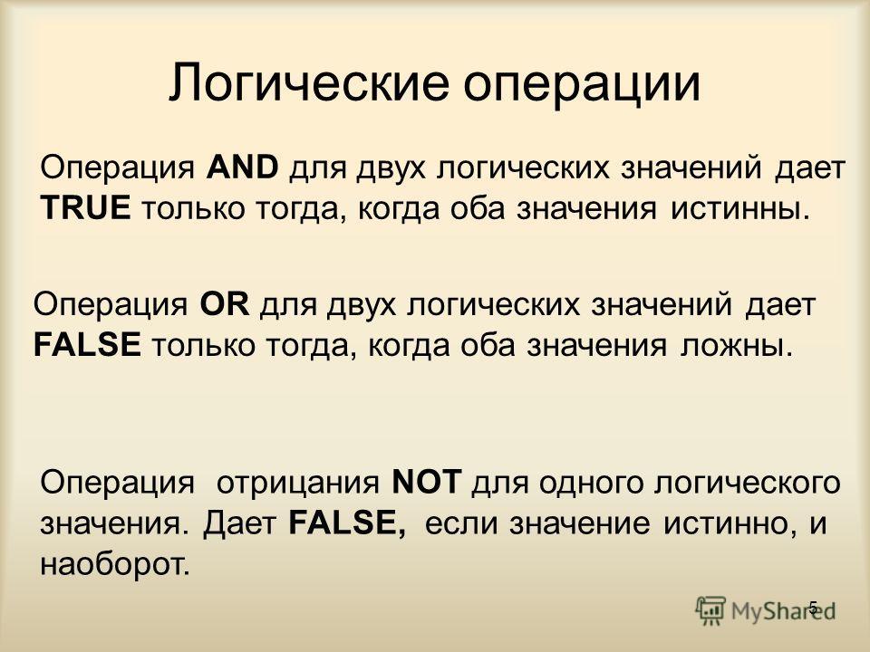 5 Логические операции Операция AND для двух логических значений дает TRUE только тогда, когда оба значения истинны. Операция OR для двух логических значений дает FALSE только тогда, когда оба значения ложны. Операция отрицания NOT для одного логическ