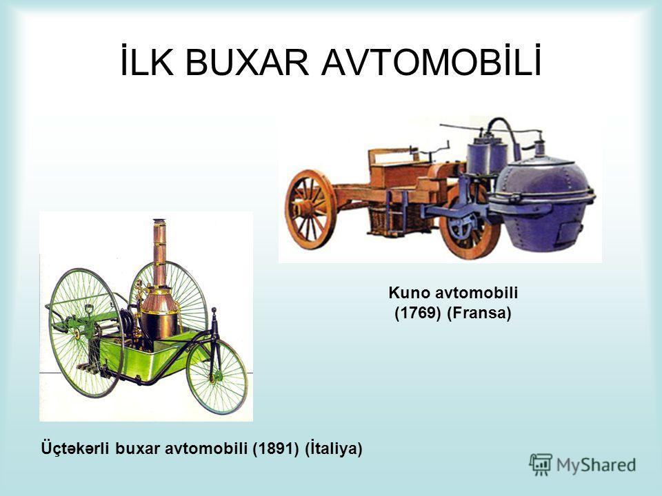İLK BUXAR AVTOMOBİLİ Kuno avtomobili (1769) (Fransa) Üçtəkərli buxar avtomobili (1891) (İtaliya)