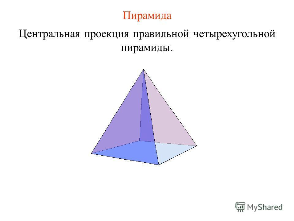 Пирамида Центральная проекция правильной четырехугольной пирамиды.