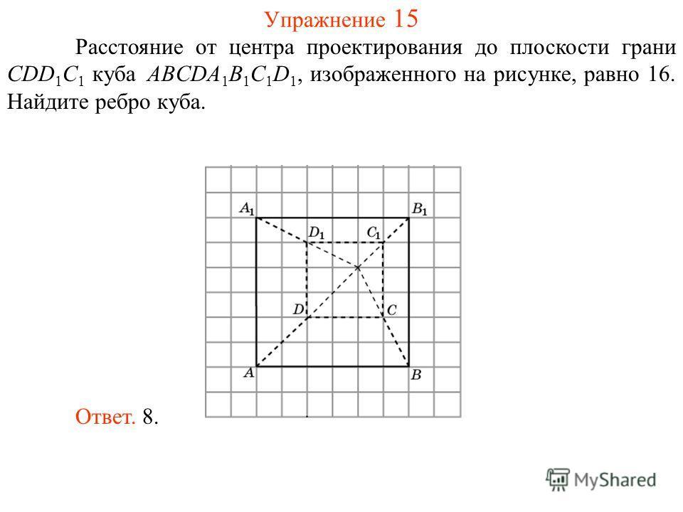 Упражнение 15 Расстояние от центра проектирования до плоскости грани CDD 1 C 1 куба ABCDA 1 B 1 C 1 D 1, изображенного на рисунке, равно 16. Найдите ребро куба. Ответ. 8.