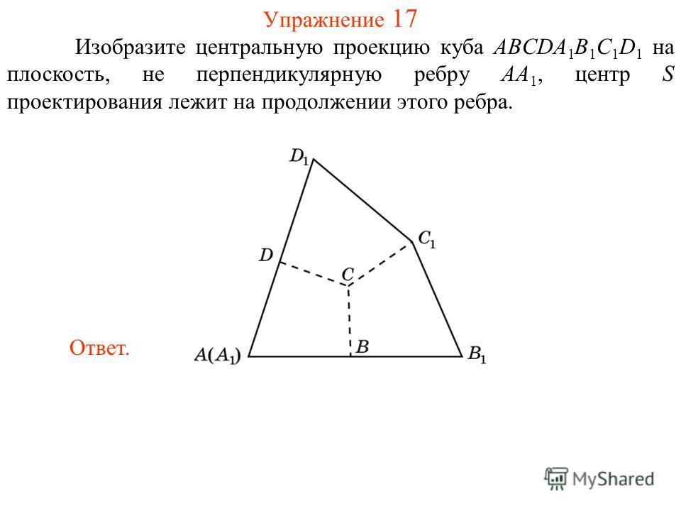 Упражнение 17 Изобразите центральную проекцию куба ABCDA 1 B 1 C 1 D 1 на плоскость, не перпендикулярную ребру AA 1, центр S проектирования лежит на продолжении этого ребра. Ответ.