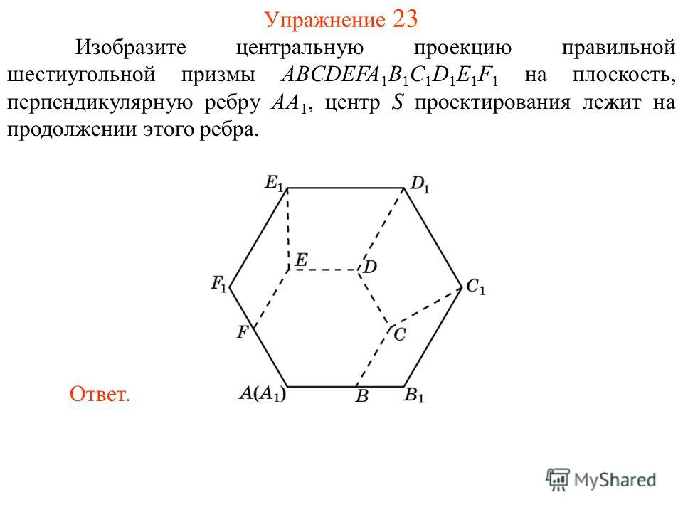 Упражнение 23 Изобразите центральную проекцию правильной шестиугольной призмы ABCDEFA 1 B 1 C 1 D 1 E 1 F 1 на плоскость, перпендикулярную ребру AA 1, центр S проектирования лежит на продолжении этого ребра. Ответ.