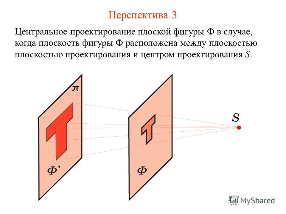 Перспектива 3 Центральное проектирование плоской фигуры Ф в случае, когда плоскость фигуры Ф расположена между плоскостью плоскостью проектирования и центром проектирования S.