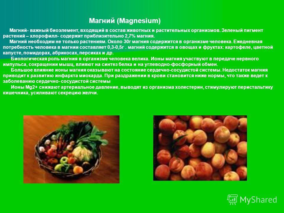 Магний- важный биоэлемент, входящий в состав животных и растительных организмов. Зеленый пигмент растений – хлорофилл- содержит приблизительно 2,7% магния. Магний необходим не только растениям. Около 30г магния содержится в организме человека. Ежедне
