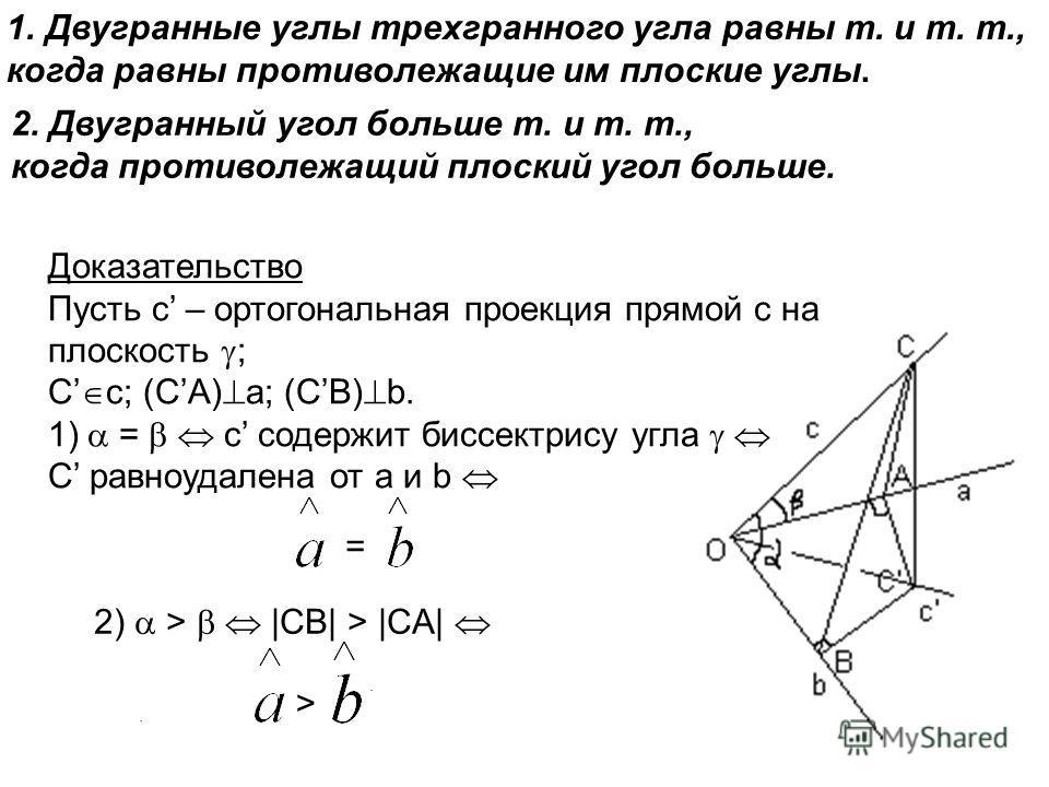 1.Двугранные углы трехгранного угла равны т. и т. т., когда равны противолежащие им плоские углы... Доказательство Пусть с – ортогональная проекция прямой с на плоскость ; С c; (СA) a; (СB) b. 1) = c содержит биссектрису угла C равноудалена от а и b