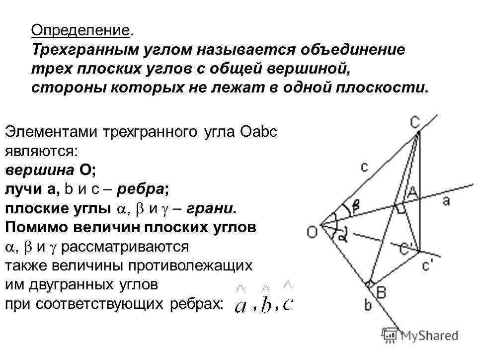Определение. Трехгранным углом называется объединение трех плоских углов с общей вершиной, стороны которых не лежат в одной плоскости. Элементами трехгранного угла Oabc являются: вершина О; лучи а, b и с – ребра; плоские углы, и – грани. Помимо велич