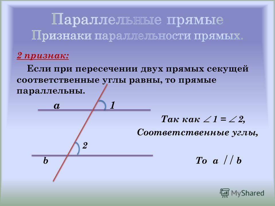 2 признак: Если при пересечении двух прямых секущей соответственные углы равны, то прямые параллельны. a 1 Так как 1 = 2, Соответственные углы, 2 b То a b