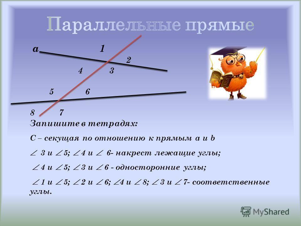 а 1 2 4 3 5 6 8 7 Запишите в тетрадях: С – секущая по отношению к прямым a и b 3 и 5; 4 и 6- накрест лежащие углы; 4 и 5; 3 и 6 - односторонние углы; 1 и 5; 2 и 6; 4 и 8; 3 и 7- соответственные углы.