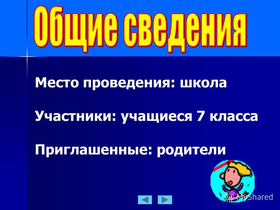 Место проведения: школа Участники: учащиеся 7 класса Приглашенные: родители