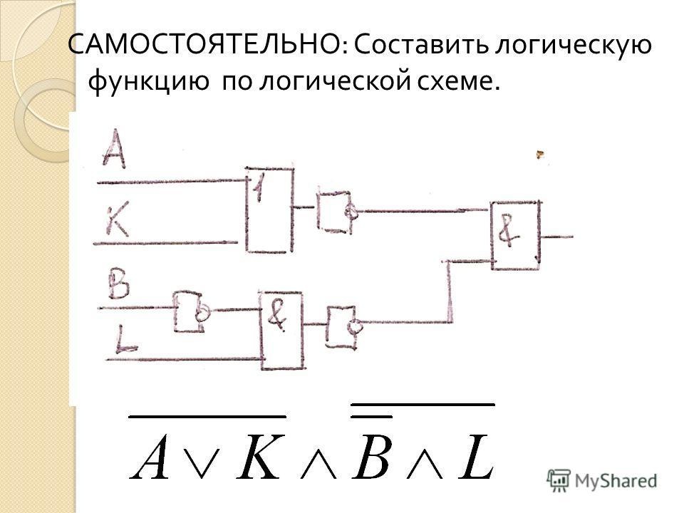 САМОСТОЯТЕЛЬНО : Составить логическую функцию по логической схеме.