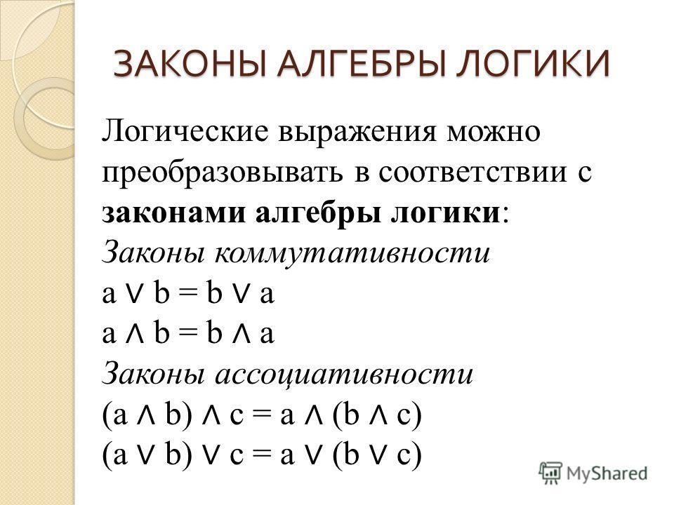 Логические выражения можно преобразовывать в соответствии с законами алгебры логики: Законы коммутативности a b = b a a b = b a Законы ассоциативности (a b) c = a (b c) (a b) c = a (b c)