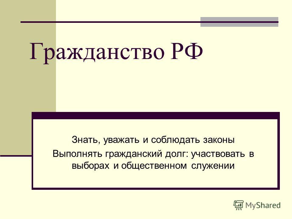 Гражданство РФ Знать, уважать и соблюдать законы Выполнять гражданский долг: участвовать в выборах и общественном служении