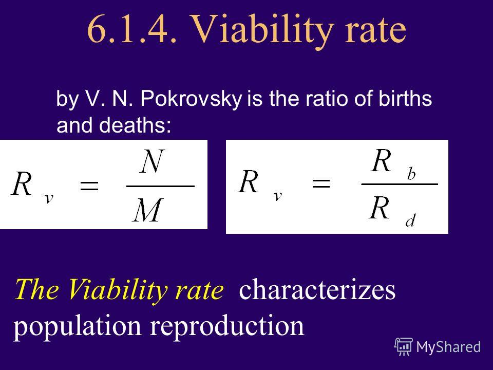 6.1.4. Viability rate by V. N. Pokrovsky is the ratio of births and deaths: The Viability rate characterizes population reproduction
