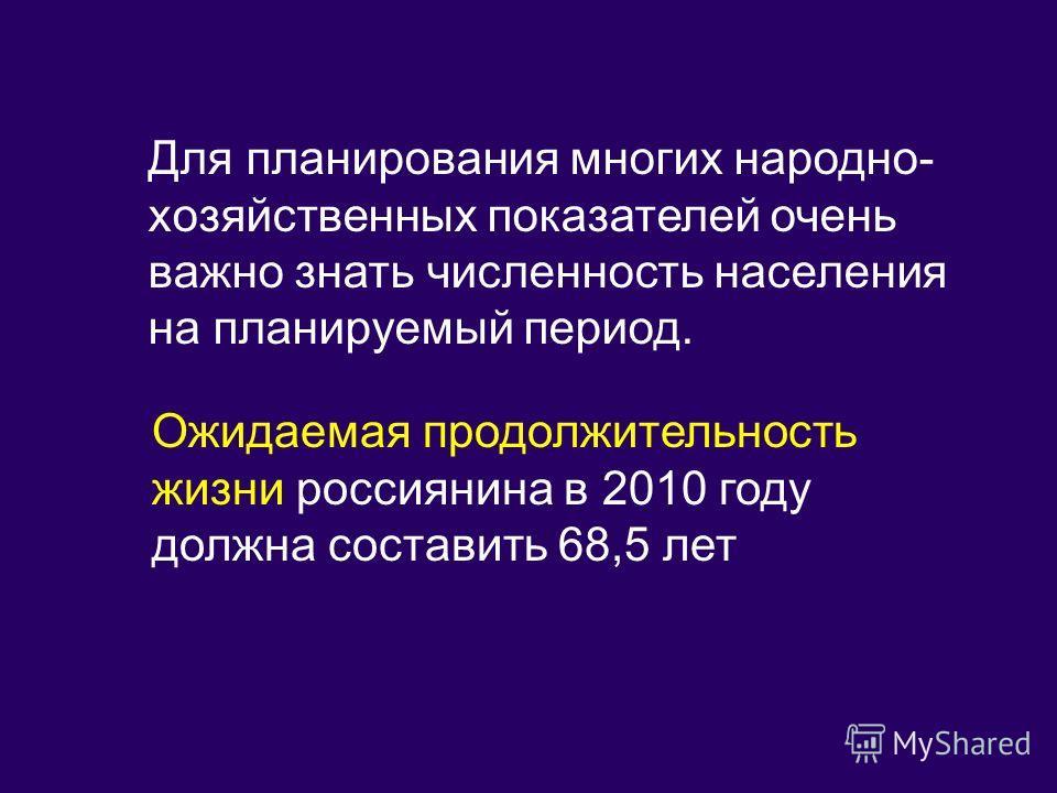 Для планирования многих народно- хозяйственных показателей очень важно знать численность населения на планируемый период. Ожидаемая продолжительность жизни россиянина в 2010 году должна составить 68,5 лет