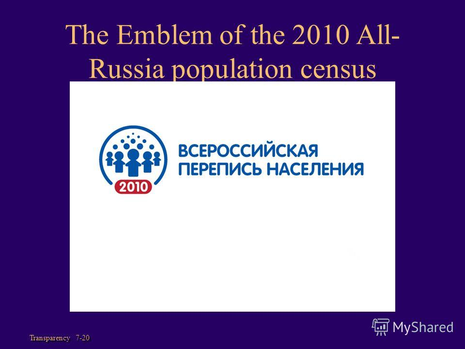 Transparency 7-20 The Emblem of the 2010 All- Russia population census
