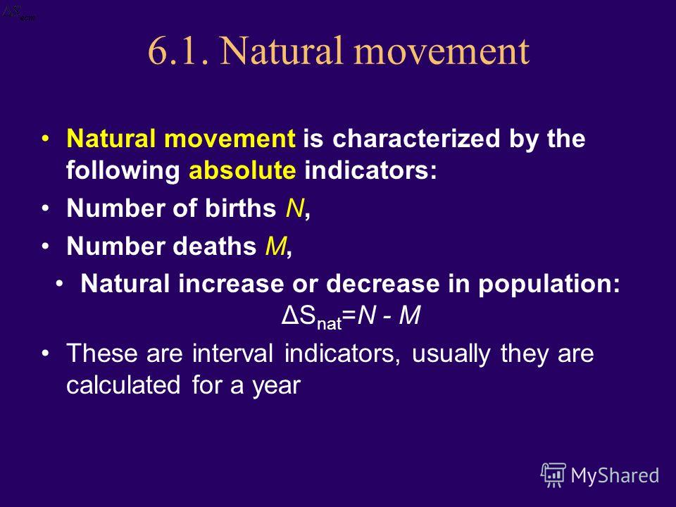 6.1. Natural movement Natural movement is characterized by the following absolute indicators: Number of births N, Number deaths M, Natural increase or decrease in population: ΔS nat =N - M These are interval indicators, usually they are calculated fo