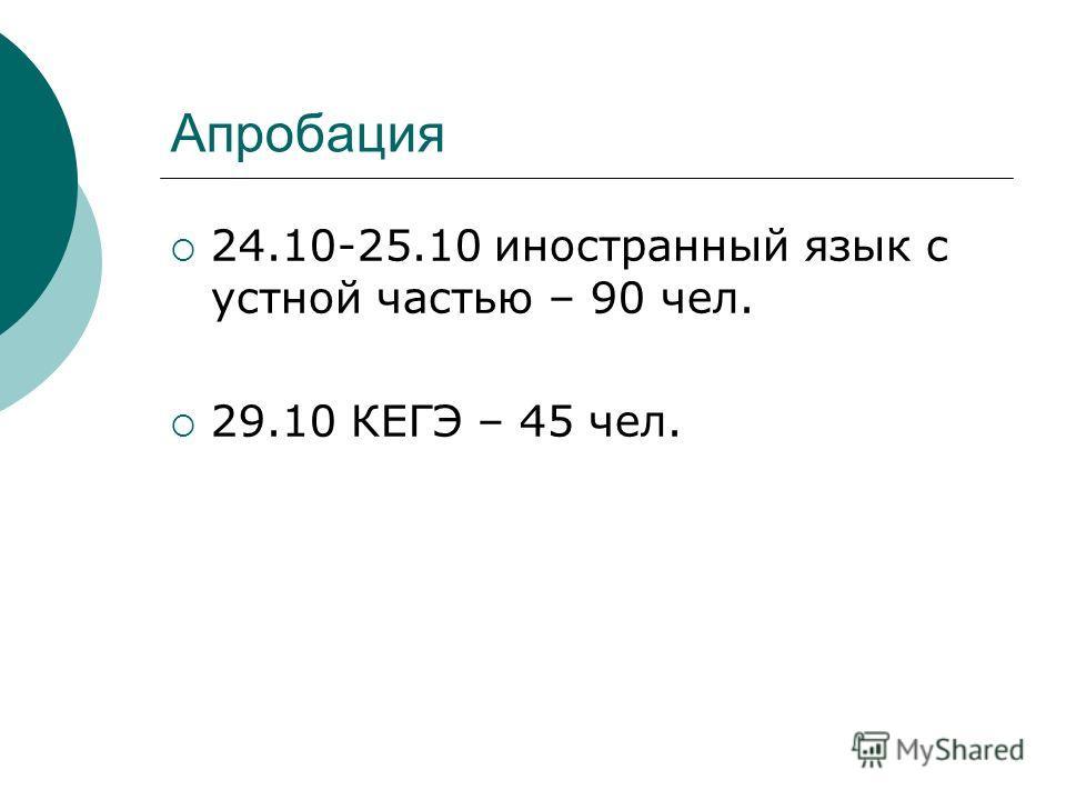 Апробация 24.10-25.10 иностранный язык с устной частью – 90 чел. 29.10 КЕГЭ – 45 чел.