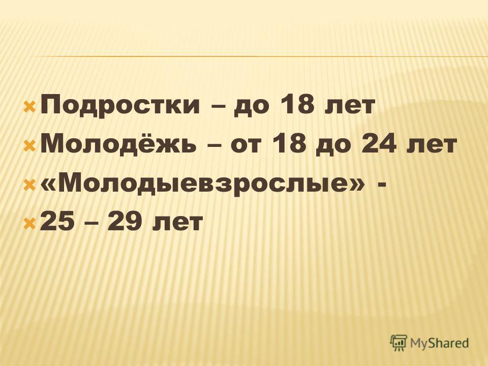 Подростки – до 18 лет Молодёжь – от 18 до 24 лет «Молодыевзрослые» - 25 – 29 лет