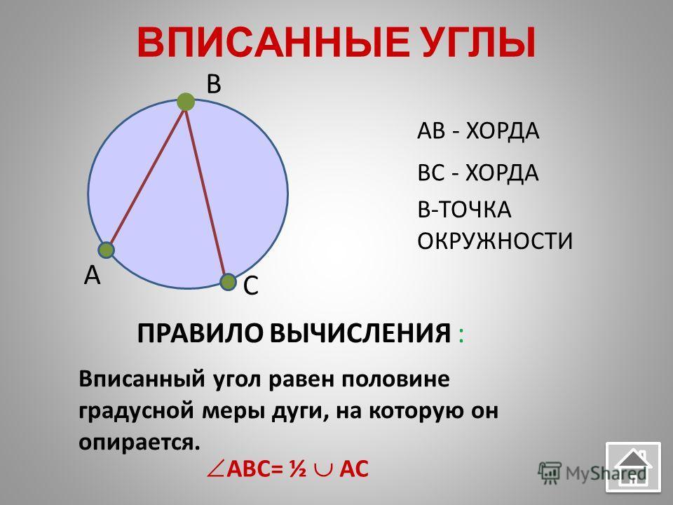 ВПИСАННЫЕ УГЛЫ AB - ХОРДА BC - ХОРДА B-ТОЧКА ОКРУЖНОСТИ ПРАВИЛО ВЫЧИСЛЕНИЯ : Вписанный угол равен половине градусной меры дуги, на которую он опирается. ABC= ½ AC A B C