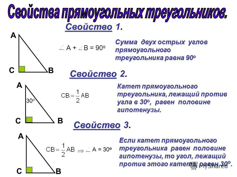 А + В = 90 о Свойство Свойство 1. А C B А C B А C B Свойство Свойство 2. Свойство Свойство 3. Сумма двух острых углов прямоугольного треугольника равна 90 о Катет прямоугольного треугольника, лежащий против угла в 30 о, равен половине гипотенузы. Есл