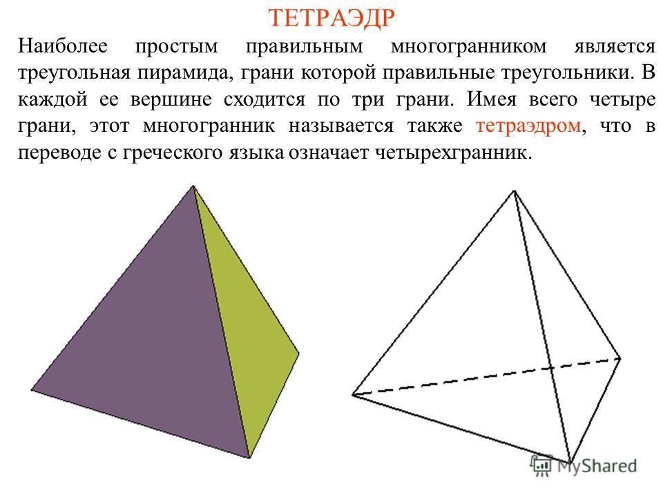 ТЕТРАЭДР Наиболее простым правильным многогранником является треугольная пирамида, грани которой правильные треугольники. В каждой ее вершине сходится по три грани. Имея всего четыре грани, этот многогранник называется также тетраэдром, что в перевод