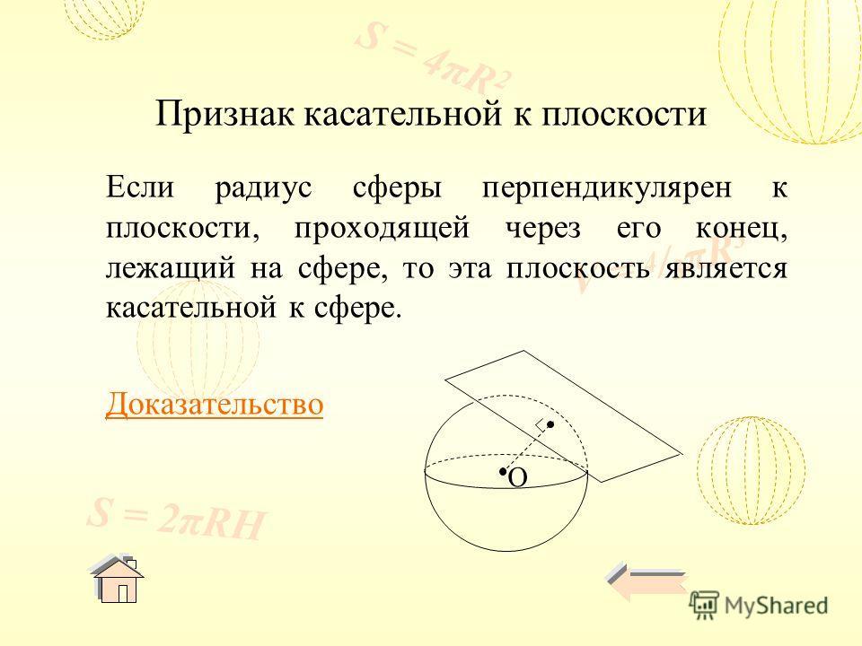 V = 4 / 3 πR 3 S = 4πR 2 S = 2πRH Признак касательной к плоскости Если радиус сферы перпендикулярен к плоскости, проходящей через его конец, лежащий на сфере, то эта плоскость является касательной к сфере. Доказательство O