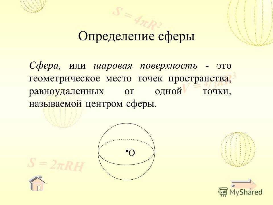 V = 4 / 3 πR 3 S = 4πR 2 S = 2πRH Определение сферы Сфера, или шаровая поверхность - это геометрическое место точек пространства, равноудаленных от одной точки, называемой центром сферы. O