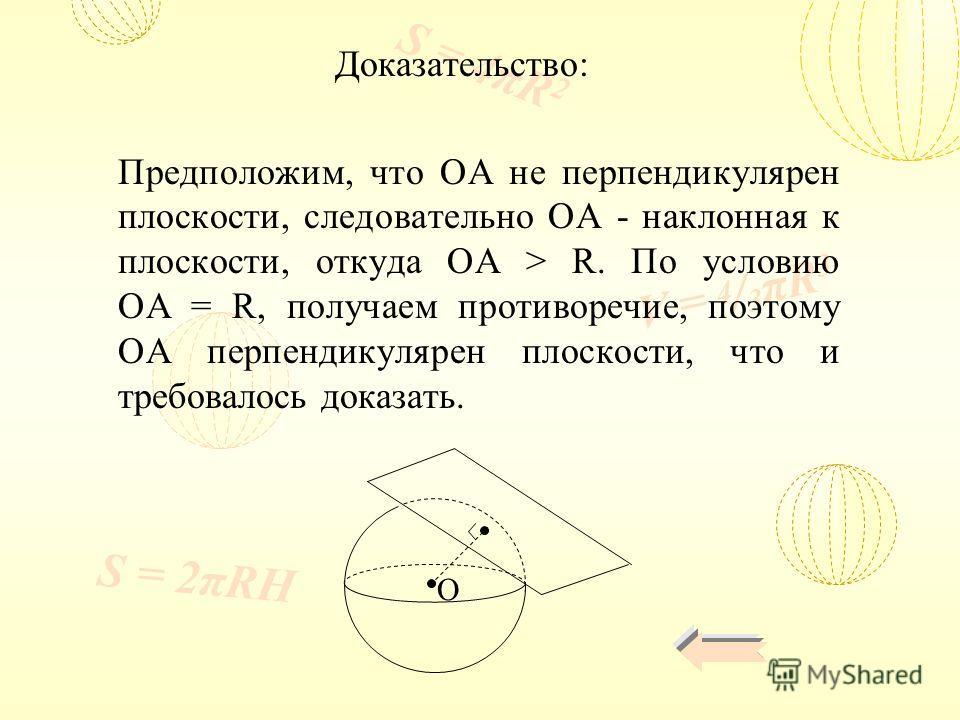V = 4 / 3 πR 3 S = 4πR 2 S = 2πRH Доказательство: Предположим, что ОА не перпендикулярен плоскости, следовательно ОА - наклонная к плоскости, откуда ОА > R. По условию OA = R, получаем противоречие, поэтому ОА перпендикулярен плоскости, что и требова