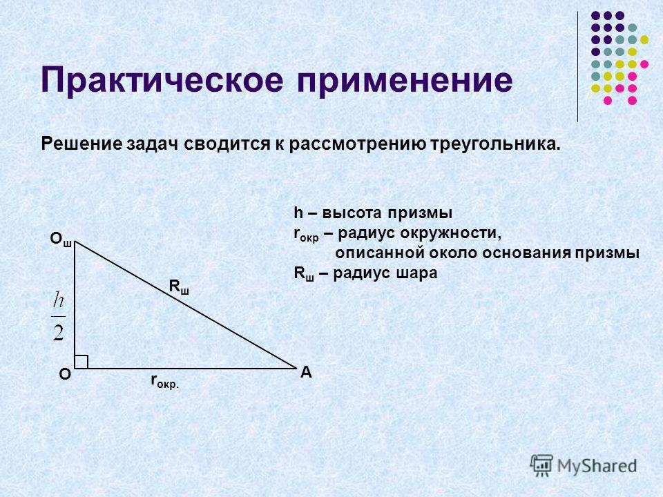 Практическое применение Решение задач сводится к рассмотрению треугольника. O A OшOш r окр. RшRш h – высота призмы r окр – радиус окружности, описанной около основания призмы R ш – радиус шара