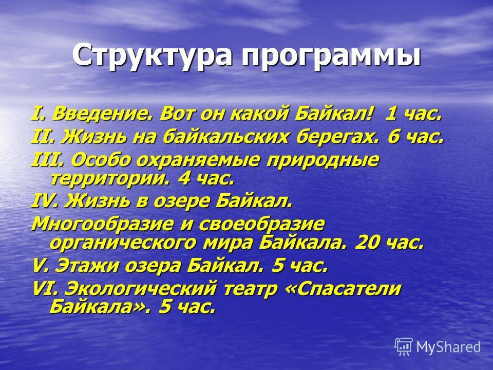 Структура программы I. Введение. Вот он какой Байкал! 1 час. II. Жизнь на байкальских берегах. 6 час. III. Особо охраняемые природные территории. 4 час. IV. Жизнь в озере Байкал. Многообразие и своеобразие органического мира Байкала. 20 час. V. Этажи