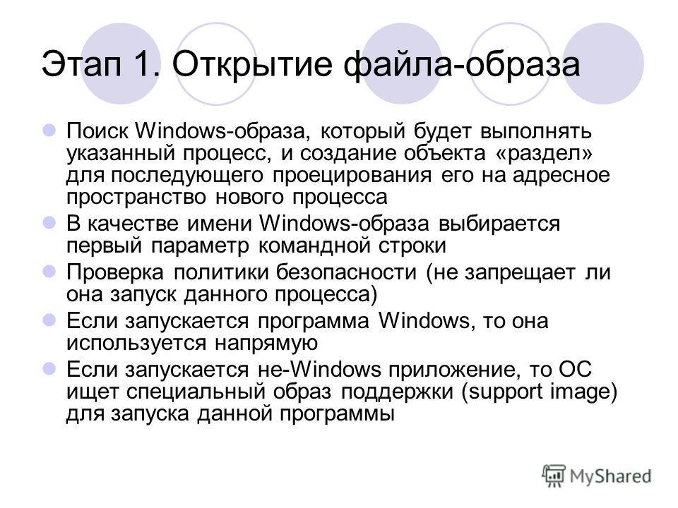 Этап 1. Открытие файла-образа Поиск Windows-образа, который будет выполнять указанный процесс, и создание объекта «раздел» для последующего проецирования его на адресное пространство нового процесса В качестве имени Windows-образа выбирается первый п