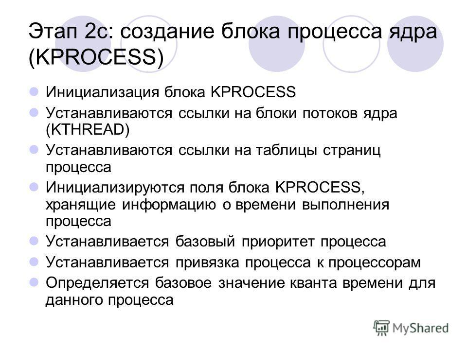 Этап 2c: создание блока процесса ядра (KPROCESS) Инициализация блока KPROCESS Устанавливаются ссылки на блоки потоков ядра (KTHREAD) Устанавливаются ссылки на таблицы страниц процесса Инициализируются поля блока KPROCESS, хранящие информацию о времен