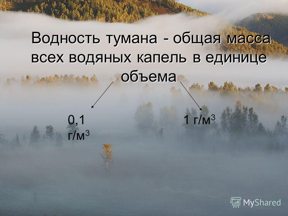 Водность тумана - общая масса всех водяных капель в единице объема Водность тумана - общая масса всех водяных капель в единице объема 0,1 г/м 3 1 г/м 3