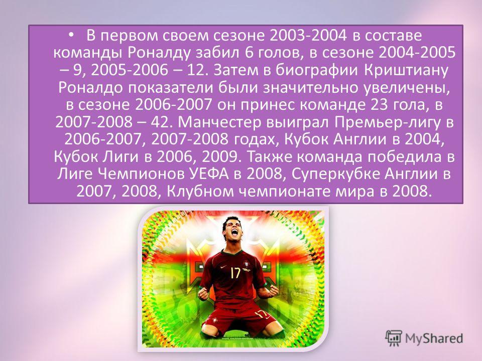 В первом своем сезоне 2003-2004 в составе команды Роналду забил 6 голов, в сезоне 2004-2005 – 9, 2005-2006 – 12. Затем в биографии Криштиану Роналдо показатели были значительно увеличены, в сезоне 2006-2007 он принес команде 23 гола, в 2007-2008 – 42