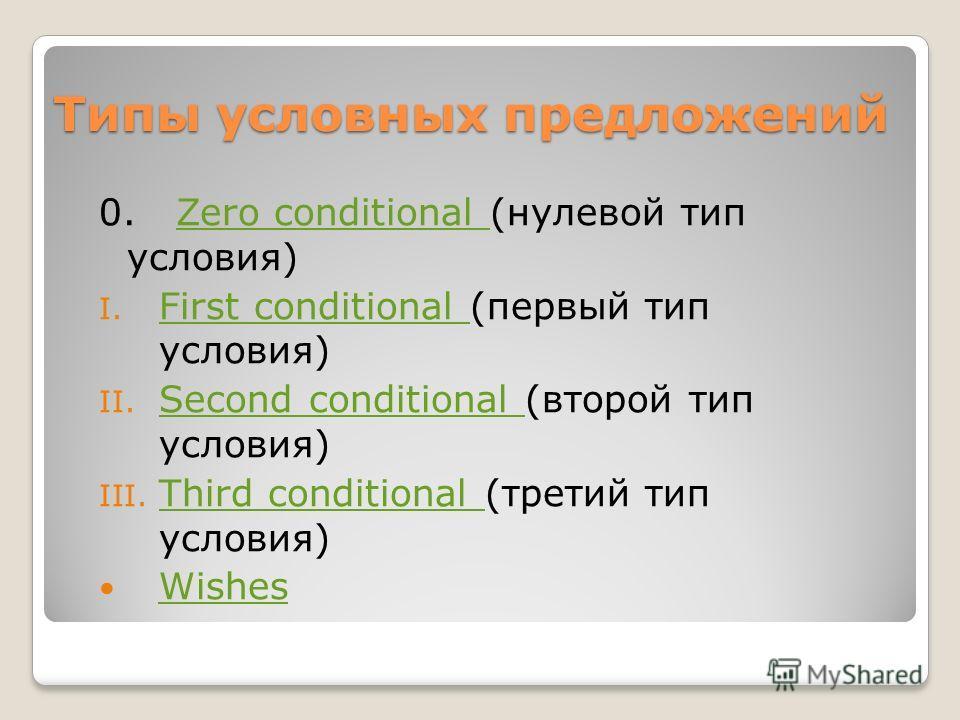 Типы условных предложений 0. Zero conditional (нулевой тип условия)Zero conditional I. First conditional (первый тип условия) First conditional II. Second conditional (второй тип условия) Second conditional III. Third conditional (третий тип условия)