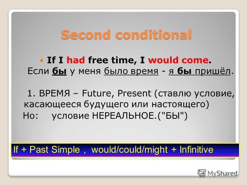 Second conditional If I had free time, I would come. Если бы у меня было время - я бы пришёл. 1. ВРЕМЯ – Future, Present (ставлю условие, касающееся будущего или настоящего) Но: условие НЕРЕАЛЬНОЕ.(