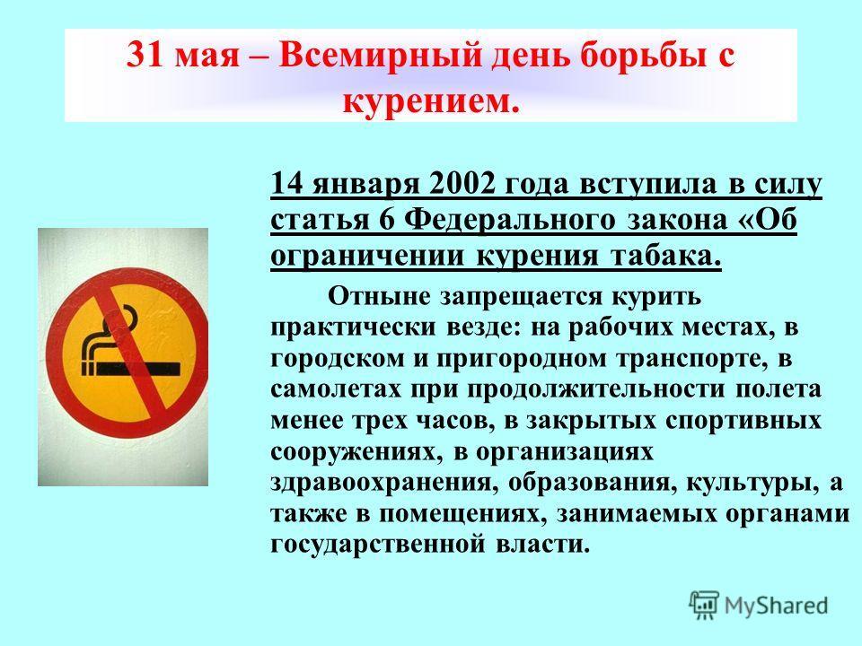 31 мая – Всемирный день борьбы с курением. 14 января 2002 года вступила в силу статья 6 Федерального закона «Об ограничении курения табака. Отныне запрещается курить практически везде: на рабочих местах, в городском и пригородном транспорте, в самоле