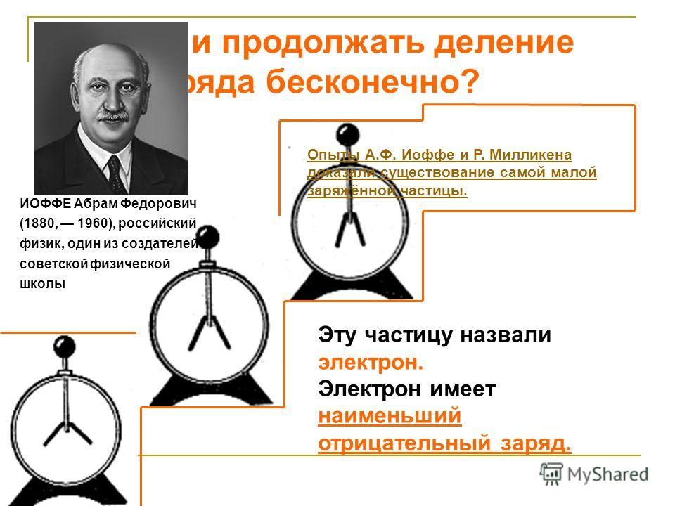 Можно ли продолжать деление заряда бесконечно? Опыты А.Ф. Иоффе и Р. Милликена доказали существование самой малой заряжённой частицы. Эту частицу назвали электрон. Электрон имеет наименьший отрицательный заряд. ИОФФЕ Абрам Федорович (1880, 1960), рос