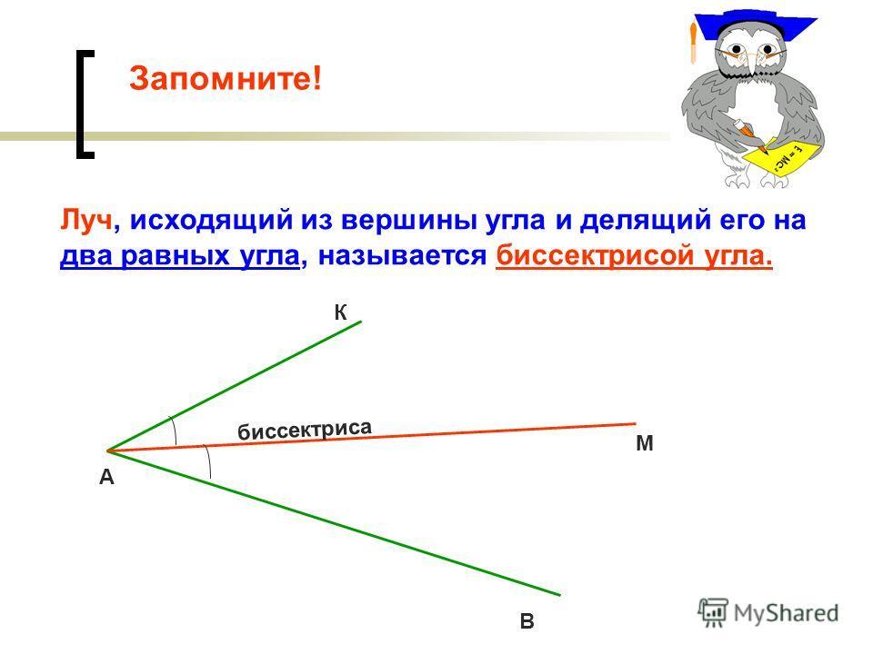Запомните! Луч, исходящий из вершины угла и делящий его на два равных угла, называется биссектрисой угла. биссектриса К М В А