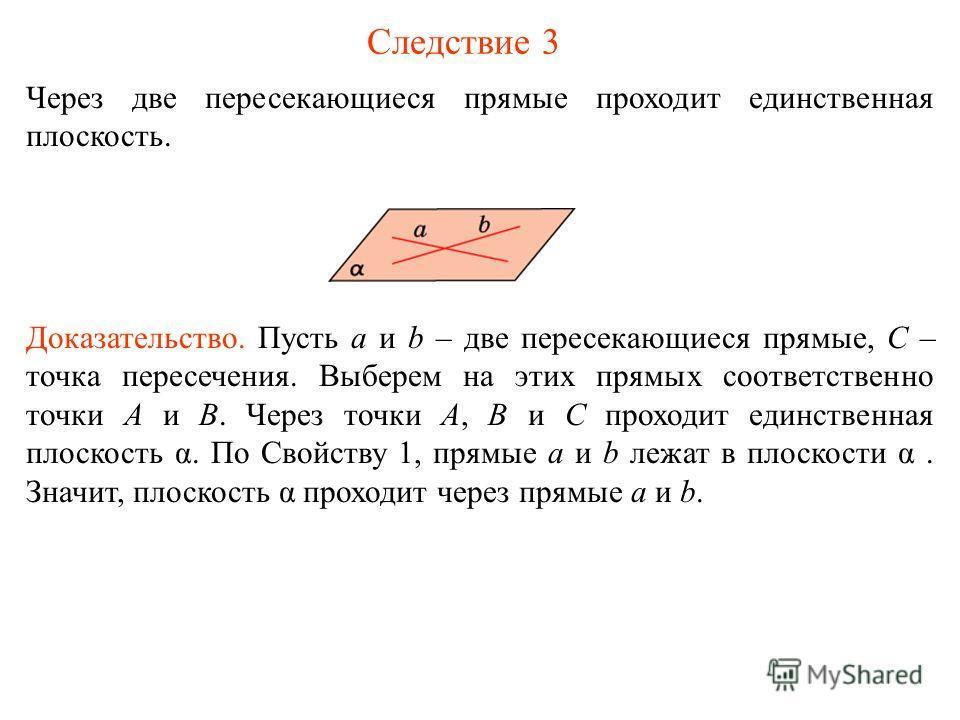 Следствие 3 Через две пересекающиеся прямые проходит единственная плоскость. Доказательство. Пусть a и b – две пересекающиеся прямые, C – точка пересечения. Выберем на этих прямых соответственно точки A и B. Через точки A, B и C проходит единственная