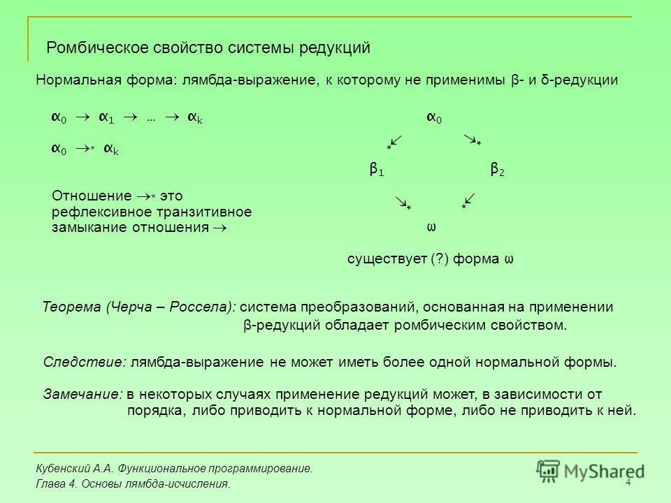 4 Кубенский А.А. Функциональное программирование. Глава 4. Основы лямбда-исчисления. Ромбическое свойство системы редукций α 0 α 1 … α k α 0 * α k Нормальная форма: лямбда-выражение, к которому не применимы β- и δ-редукции α0α0 * * β1β1 β2β2 ω * * Те