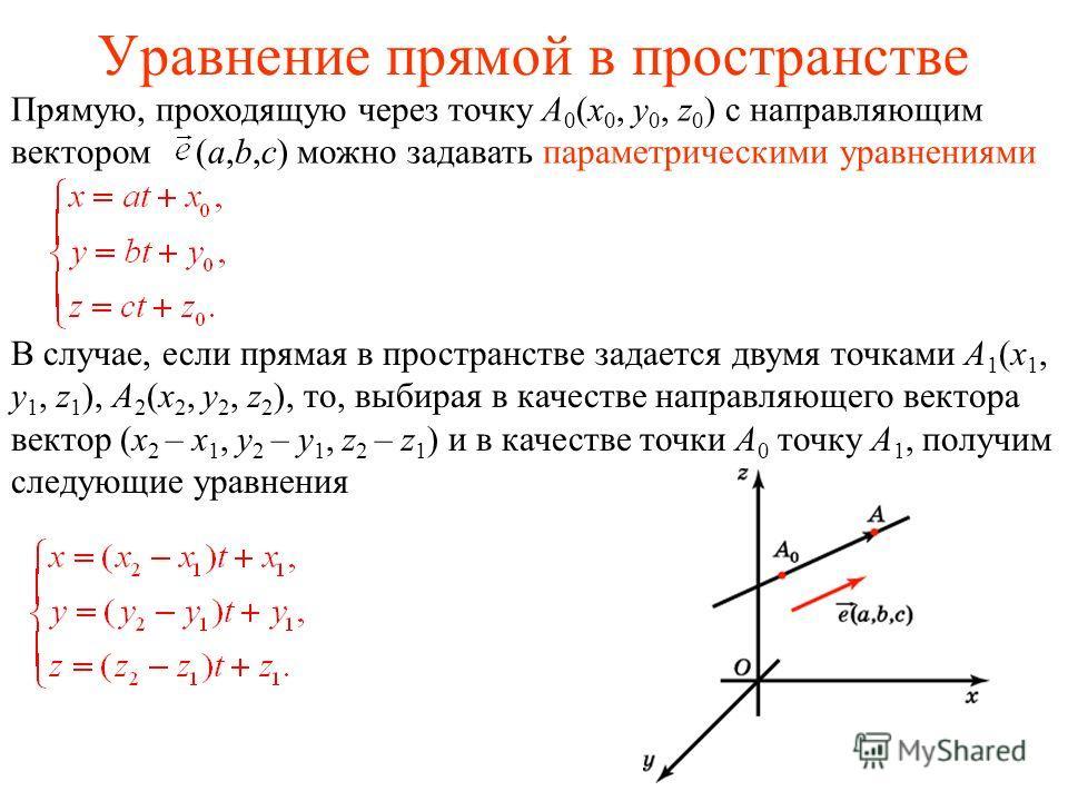 Уравнение прямой в пространстве Прямую, проходящую через точку A 0 (x 0, y 0, z 0 ) с направляющим вектором (a,b,c) можно задавать параметрическими уравнениями В случае, если прямая в пространстве задается двумя точками A 1 (x 1, y 1, z 1 ), A 2 (x 2