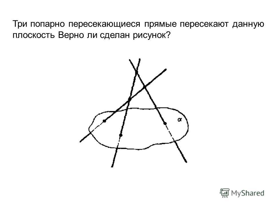 Три попарно пересекающиеся прямые пересекают данную плоскость Верно ли сделан рисунок?