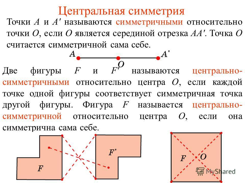 Центральная симметрия Точки А и А' называются симметричными относительно точки О, если О является серединой отрезка АА'. Точка О считается симметричной сама себе. Две фигуры F и F' называются центрально- симметричными относительно центра О, если кажд