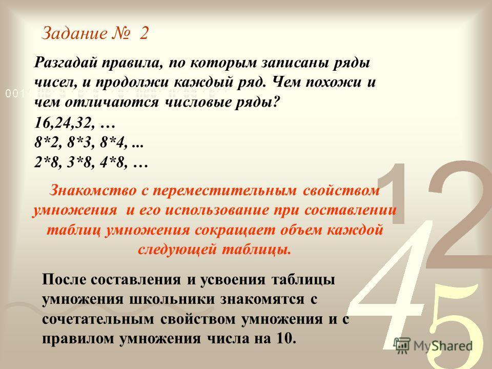 Разгадай правила, по которым записаны ряды чисел, и продолжи каждый ряд. Чем похожи и чем отличаются числовые ряды? 16,24,32, … 8*2, 8*3, 8*4,... 2*8, 3*8, 4*8, … Задание 2 После составления и усвоения таблицы умножения школьники знакомятся с сочетат