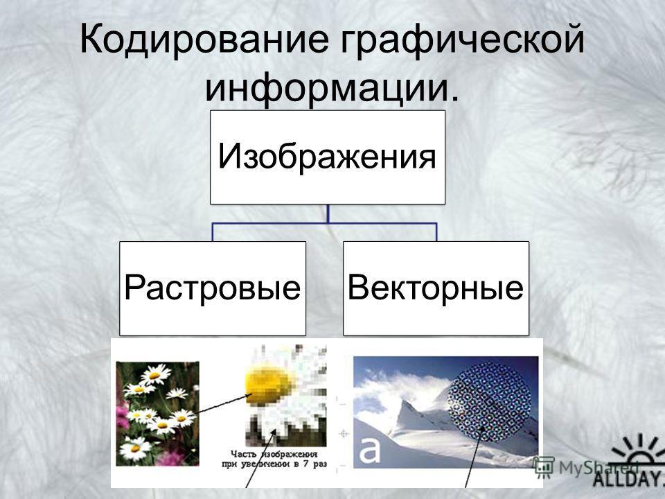 Кодирование графической информации. Изображения Растровые Векторные